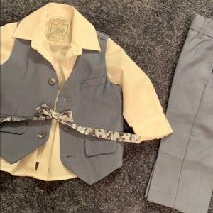 Grey suit with white shirt